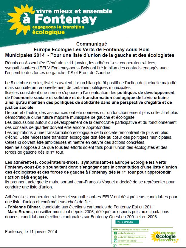 Communiqué - Pour une liste d'union de la gauche et des écologistes  - Page 2 Communique11janvier1